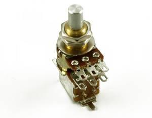 Bilde av Potmeter Bourns m DPDT switch 250K Solidshaft LOG